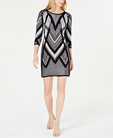NY Collection Petite Printed Sweater Dress