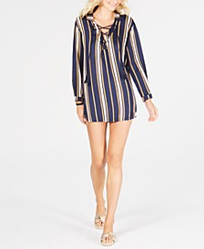 Printed Lace-Up Cover-Up