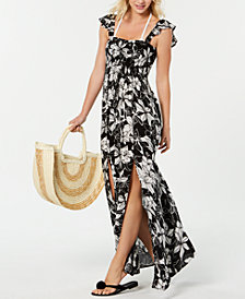 Raviya Printed Ruffled Maxi Dress Cover-Up