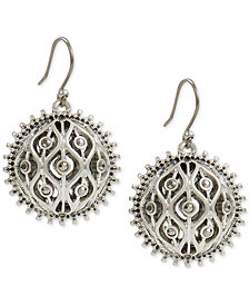 Lucky Brand Silver-Tone Pavé Openwork Drop Earrings