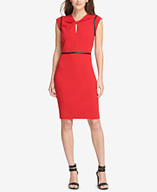 DKNY Faux-Leather-Trim Sheath Dress, Created for Macy's