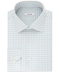 Calvin Klein Men's STEEL Classic/Regular Fit Non-Iron Performance Check Dress Shirt