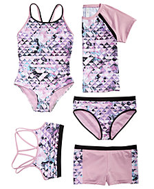 Ideology Big Girls Geo-Print Swim Tops, Bottoms & Swimsuit, Created for Macy's