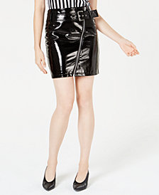 Bar III Patent Faux-Leather Mini Skirt, Created for Macy's
