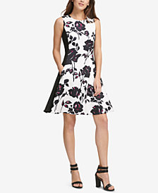 DKNY Printed Scuba Fit & Flare Dress, Created for Macy's
