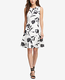 DKNY Lace-Print Fit & Flare Dress, Created for Macy's