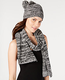 Eileen Fisher Printed Organic Cotton Pom Pom Beanie