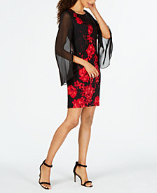 Connected Chiffon-Sleeve Floral Dress, Regular & Petite