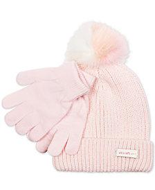 FAB Little Girls 2-Pc. Faux-Fur-Pom Hat & Gloves Set