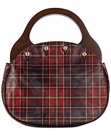 Patricia Nash Varazza Tartan Plaid Reversible Wood Handle Leather Satchel