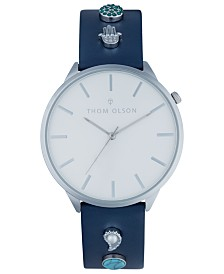 Thom Olson Women's Navy Leather Strap Watch 40mm