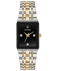 Bulova Women's Modern Diamond-Accent Two-Tone Stainless Steel Bracelet Watch 20.5x32mm, Created for Macy's