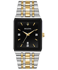 Bulova Men's Diamond-Accent Two-Tone Stainless Steel Bracelet Watch 30.5x45mm, Created for Macy's