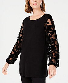 JM Collection Velvet & Mesh Sleeve Sweater, Created for Macy's