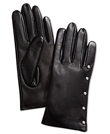 Charter Club Imitation-Pearl & Leather Touch Gloves, Created for Macy's