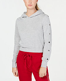 Material Girl Juniors' Snap-Sleeve Hoodie, Created for Macy's