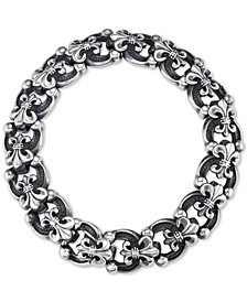 Men's Fleur-de-Lis Link Bracelet in Stainless Steel & Black Titanium-Plate