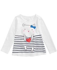 First Impressions Baby Girls Long-Sleeve Cat T-Shirt, Created for Macy's