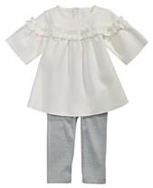 7975aae5dcf8c First Impressions Baby Girls 2-Pc. Ruffle Tunic & Metallic Leggings Set,  Created