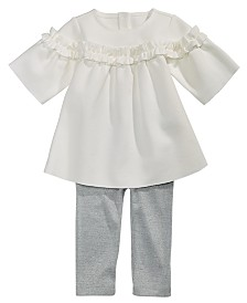 First Impressions Baby Girls 2-Pc. Ruffle Tunic & Metallic Leggings Set, Created for Macy's