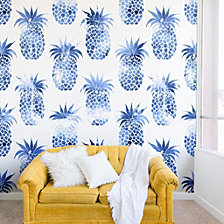Deny Designs Schatzi Brown Pineapples Blue Wall Mural