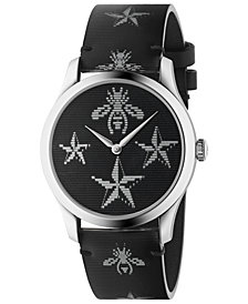 Gucci Unisex Swiss G-Timeless Black Hologram Leather Strap Watch 38mm