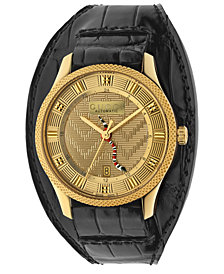 Gucci Men's Swiss Automatic Eryx Black Alligator Leather Cuff Strap Watch 40mm