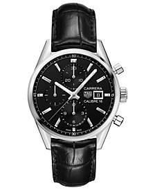 Men's Swiss Automatic Chronograph Carrera Calibre 16 Black Alligator Leather Strap Watch 41mm