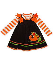 Rare Editions Baby Girls 2-Pc. Striped Bodysuit & Pumpkin Jumper Set
