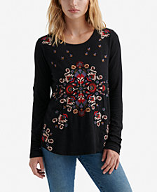 Lucky Brand Cotton Flower-Embroidered T-Shirt
