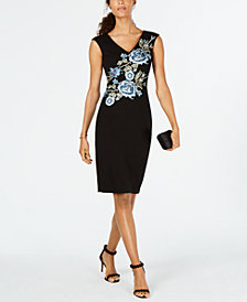Ivanka Trump Floral-Embroidered Sheath Dress