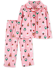Carter's Toddler Girls 2-Pc. Holiday-Print Fleece Pajama Set