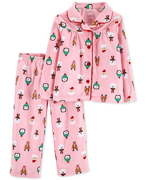 8ef12638bb87 Carter s Toddler Girls 2-Pc. Holiday-Print Fleece Pajama Set ...