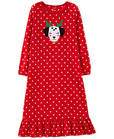 3c6309a123 Carter s Little   Big Girls Dot-Print Fleece Nightgown