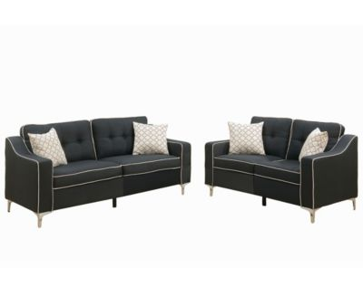 Poundex Bobkona Masacci Linen Like Polyfabric 2 Piece Sofa And Loveseat Set    Furniture   Macyu0027s
