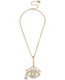 "BCBG Gold-Tone Crystal & Stone Evil Eye Lariat Necklace, 16"" + 3"" extender"