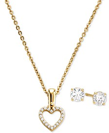 "Sterling Silver Cubic Zirconia Open Heart Pendant Necklace & Stud Earrings Set, 16"" + 2"" extender"