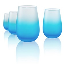Artland Frost Shadow 16 oz. Turquoise Stemless Glasses, Set of 4