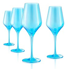 Set of 4 16oz. Luster Turquoise Goblets