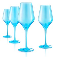 Artland Set of 4 16oz. Luster Turquoise Goblets
