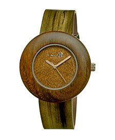 Earth Wood Ligna Leather-Band Watch Olive 43Mm