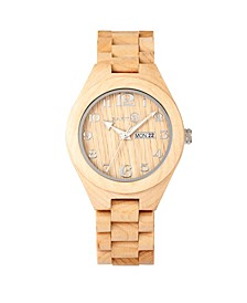 Sapwood Wood Bracelet Watch W/Date Khaki 41Mm