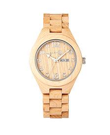 Earth Wood Sapwood Wood Bracelet Watch W/Date Khaki 41Mm