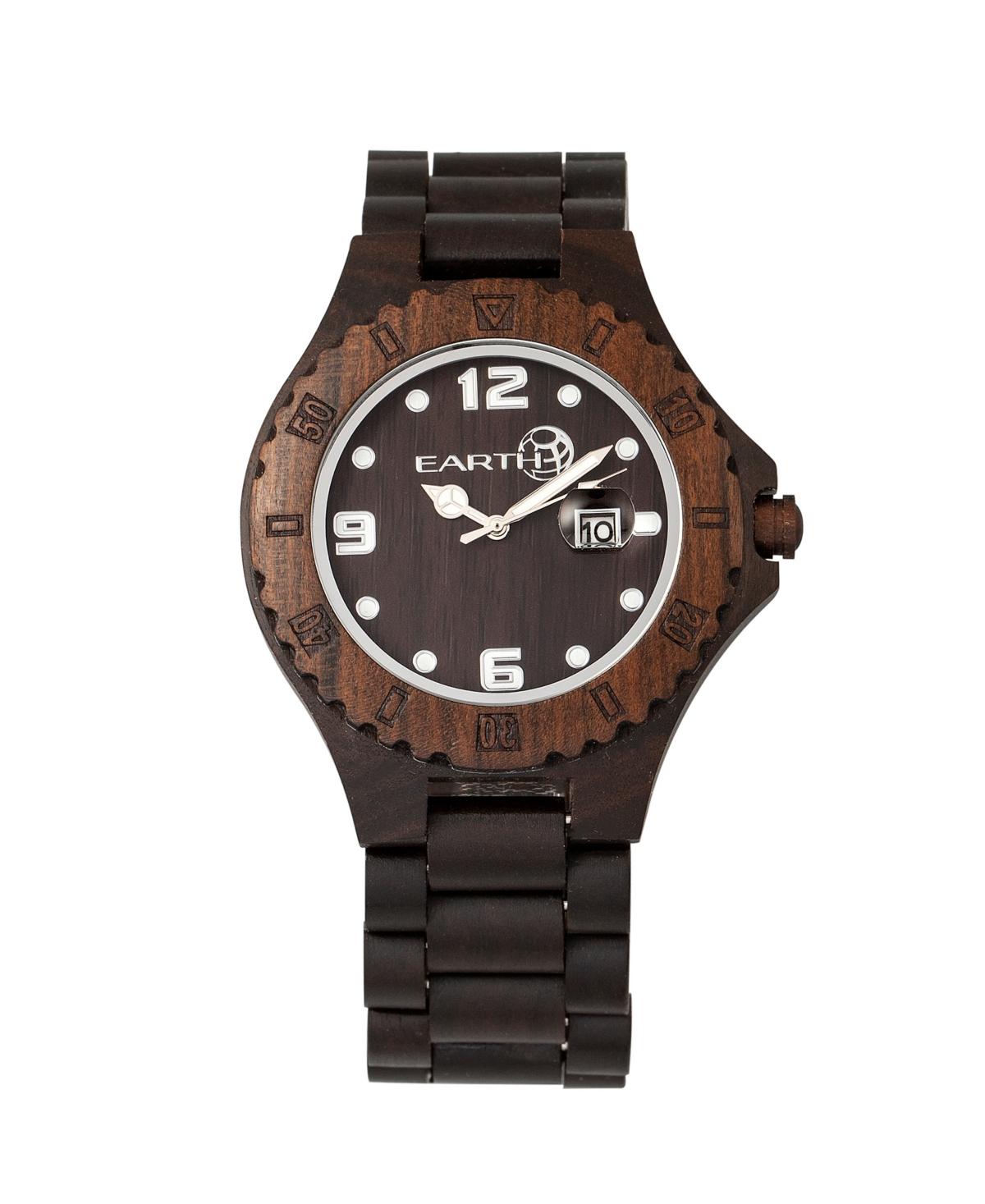 Earth Wood Raywood Wood Bracelet Watch W/Date Brown 47Mm