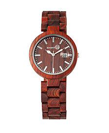 Earth Wood Stomates Wood Bracelet Watch W/Date Red 40Mm