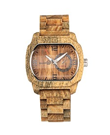 Earth Wood Scaly Wood Bracelet Watch W/Date Olive 46Mm
