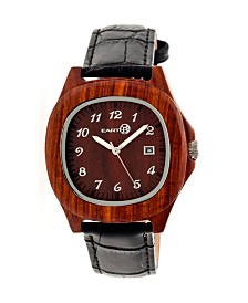 Earth Wood Sherwood Leather-Band Watch Red 40Mm