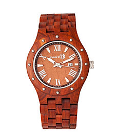 Earth Wood Inyo Wood Bracelet Watch W/Date Red 46Mm