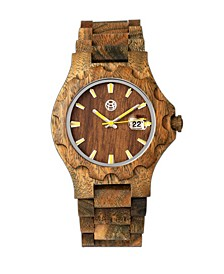 Gila Wood Bracelet Watch W/Magnified Date Olive 43Mm