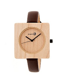 Earth Wood Teton Leather-Band Watch Khaki 38Mm